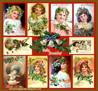 collage Navidad vintage postales antiguas de niñas