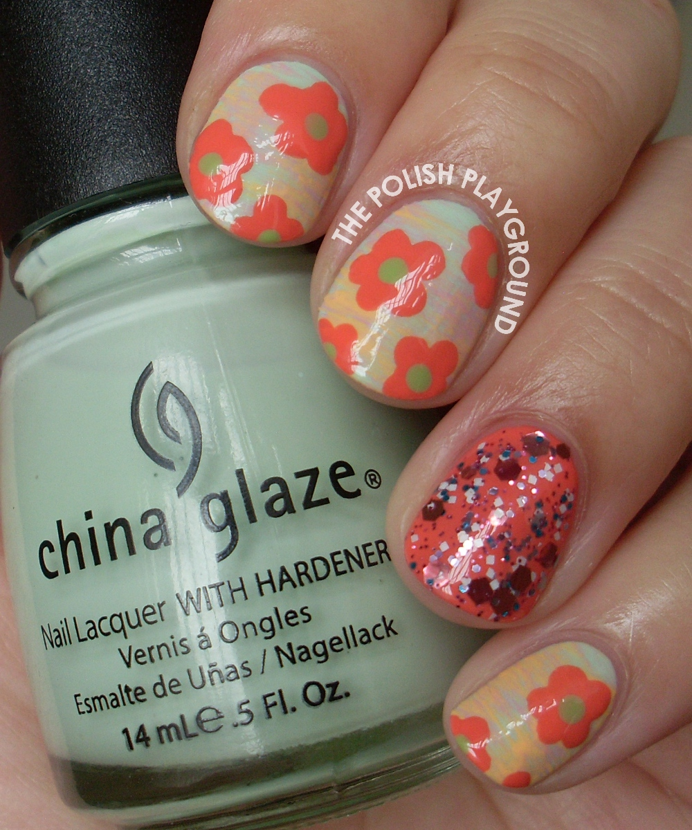 Tropical Spring Flowers Nail Art
