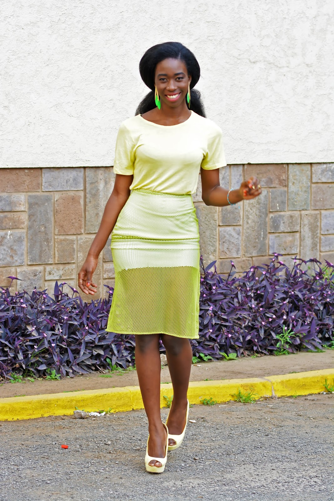 yellow and green outfit, Ezil, style with Ezil, Mesh trend, Mesh skirt, how to wear a mesh skirt, African fashion blogger, Kenyan fashion blogger.