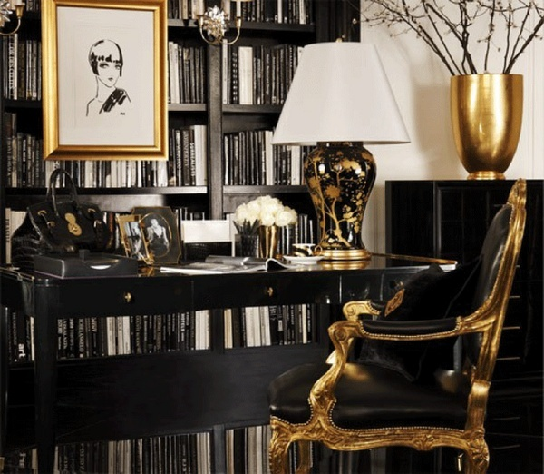 black leather gilded louis style chair