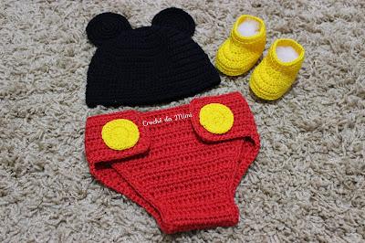 Conjunto newborn Mickey em Crochê