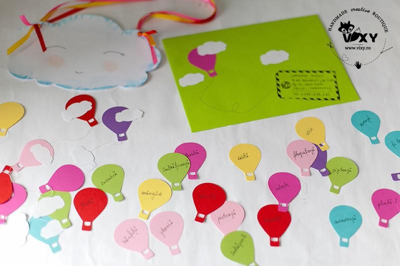 felicitare handmade norisori baloane cu aer cald