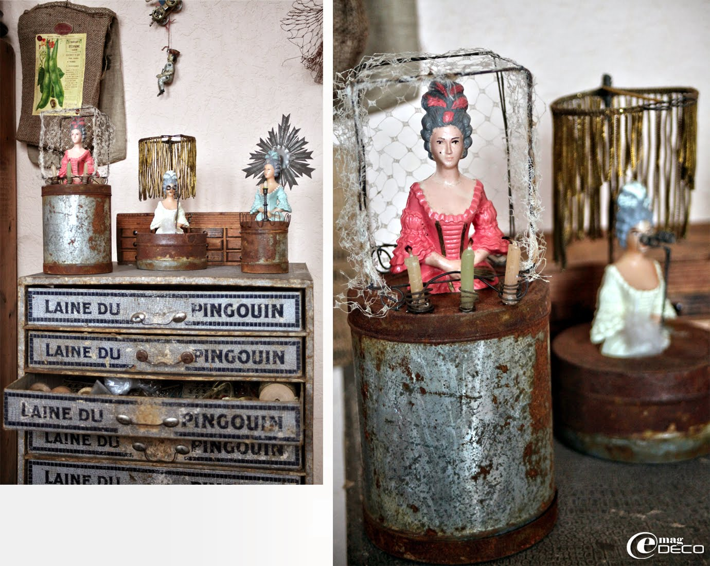 Marquises de pièces montées détournées et mises en scène sur de vieilles boîtes en fer, créations Catherine Durr