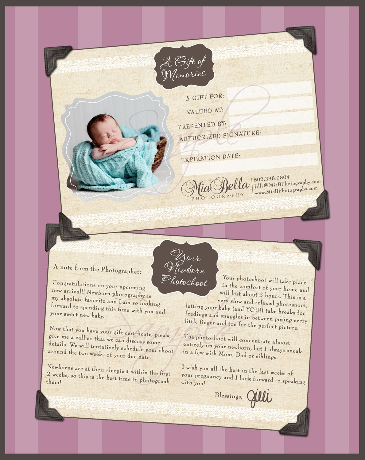 Mia bella photography mia bella newborn gift certificates 1betcityfo Gallery