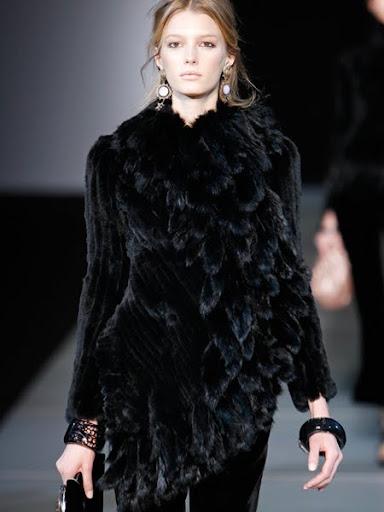 Черно кожено палто Армани