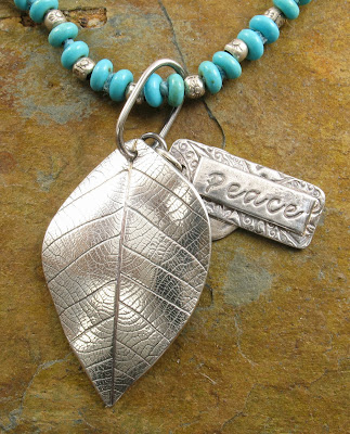 Peace Leaf Pendant by Cicada Silver