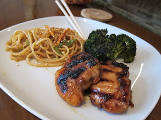 Grilled chicken thighs with sesame noodles and roasted broccoli