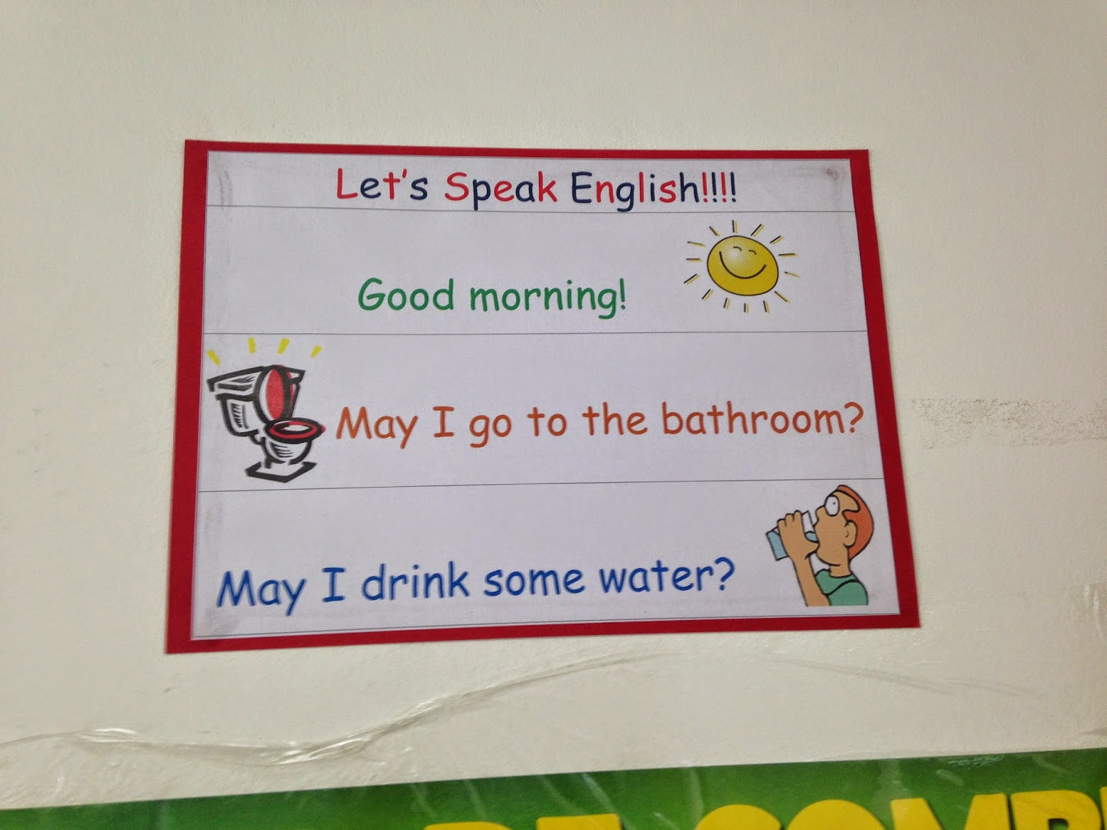 Os alunos devem pedir para ir ao banheiro e beber água em inglês  #BEA00E 1600 1200