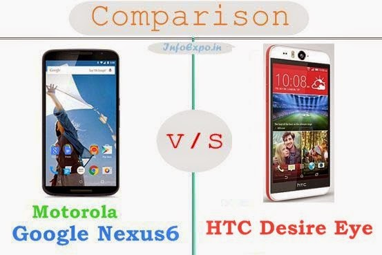 Motorola Google Nexus 6 versus HTC Desire Eye specifications and features comparison RAM,Display,Processor,Memory,Battery,camera,connectivity,special feature etc