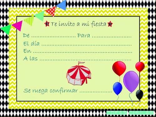 Invitación fiesta circo