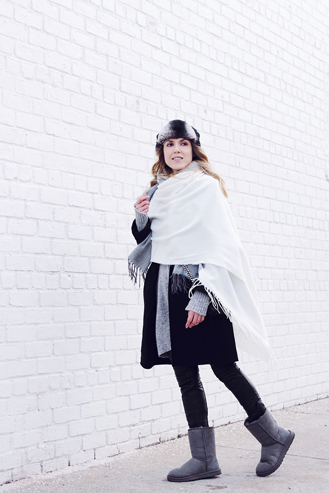 """Gray Matter"" by Victoria Wind of ""The Wind of Inspiration"" - An idea about how to combine a trapper hat, oversized scarf, leather pants and a pair of Uggs into the perfect winter outfit. #twoistyle #style #fashion #personalstyle #fashionblog #ootd #outfit #outfitoftheday"