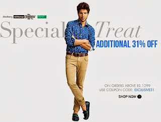 Myntra Special Treat : Additional 31% Off on Rs.1299 & above (For Today Only)