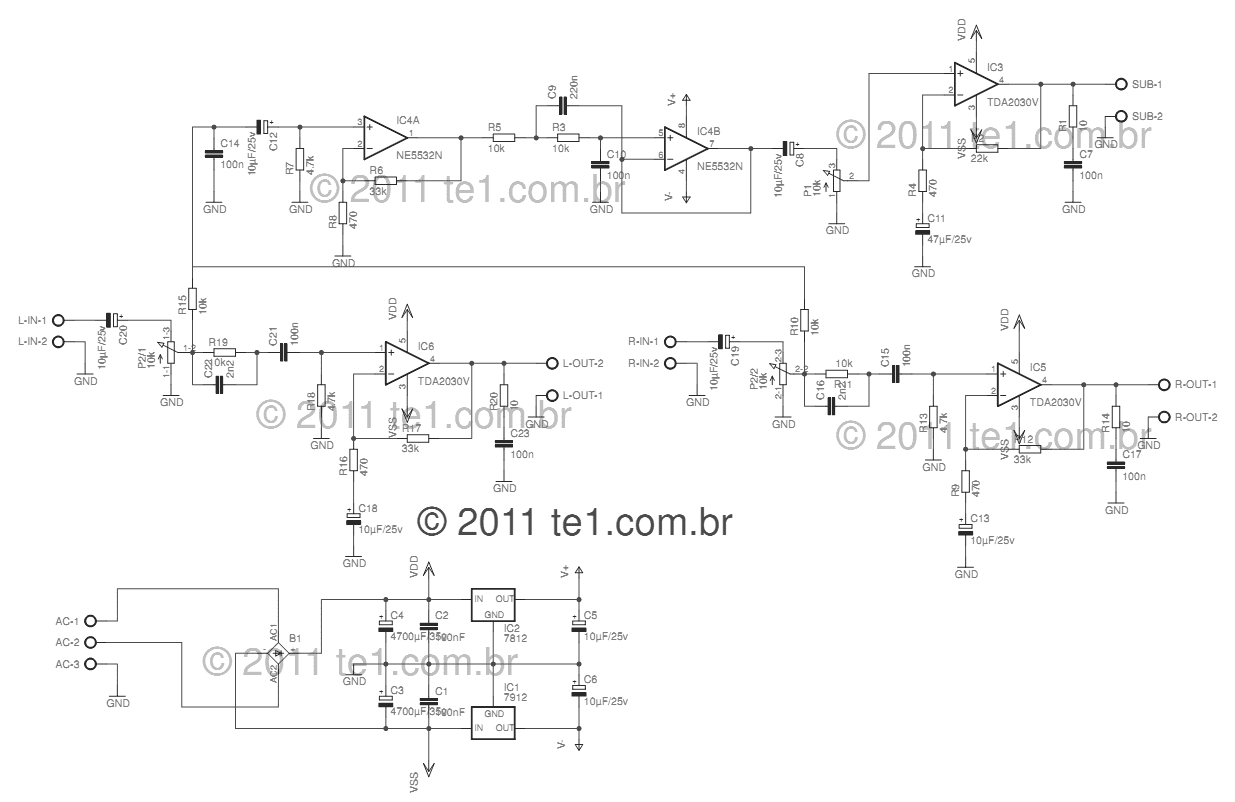 Audio amplifier TDA2030 2+1 channel.