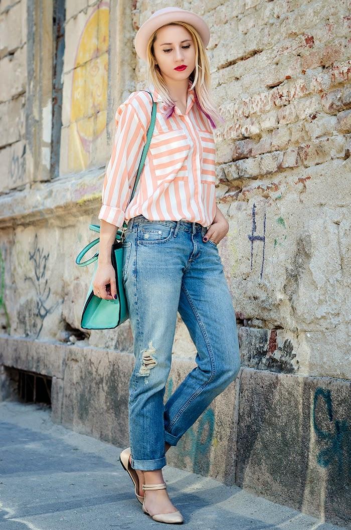 H&M boyfriend jeans nowistyle striped shirt H&M hat asos flats