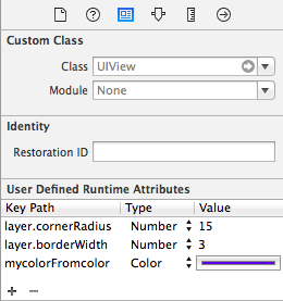 Configure User Defined Runtime attributes of unsupported types in interface builder