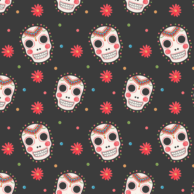 The Sugar Skull Pattern Printed on Merchandise Illustration by Haidi Shabrina