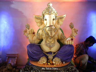 Ganesh Pandal decorated with flowers and jewellary in Mumbai