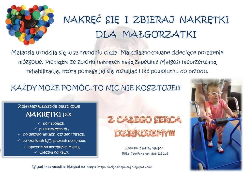 Plakat dotyczący zbiórki nakrętek