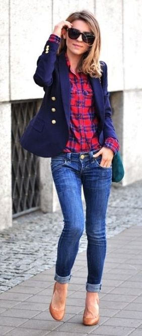 Nice autumn fashion, beautiful blazer, jeans and shirt