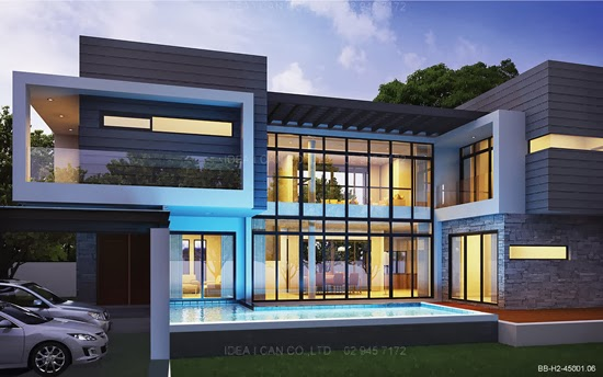 Modern Style 2 Story Home Plans for construction in thai ...