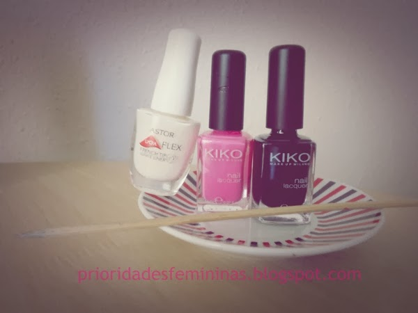 esmalte branco, rosa, preto