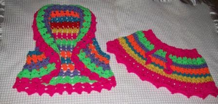 front view of a crochet vest and skirt