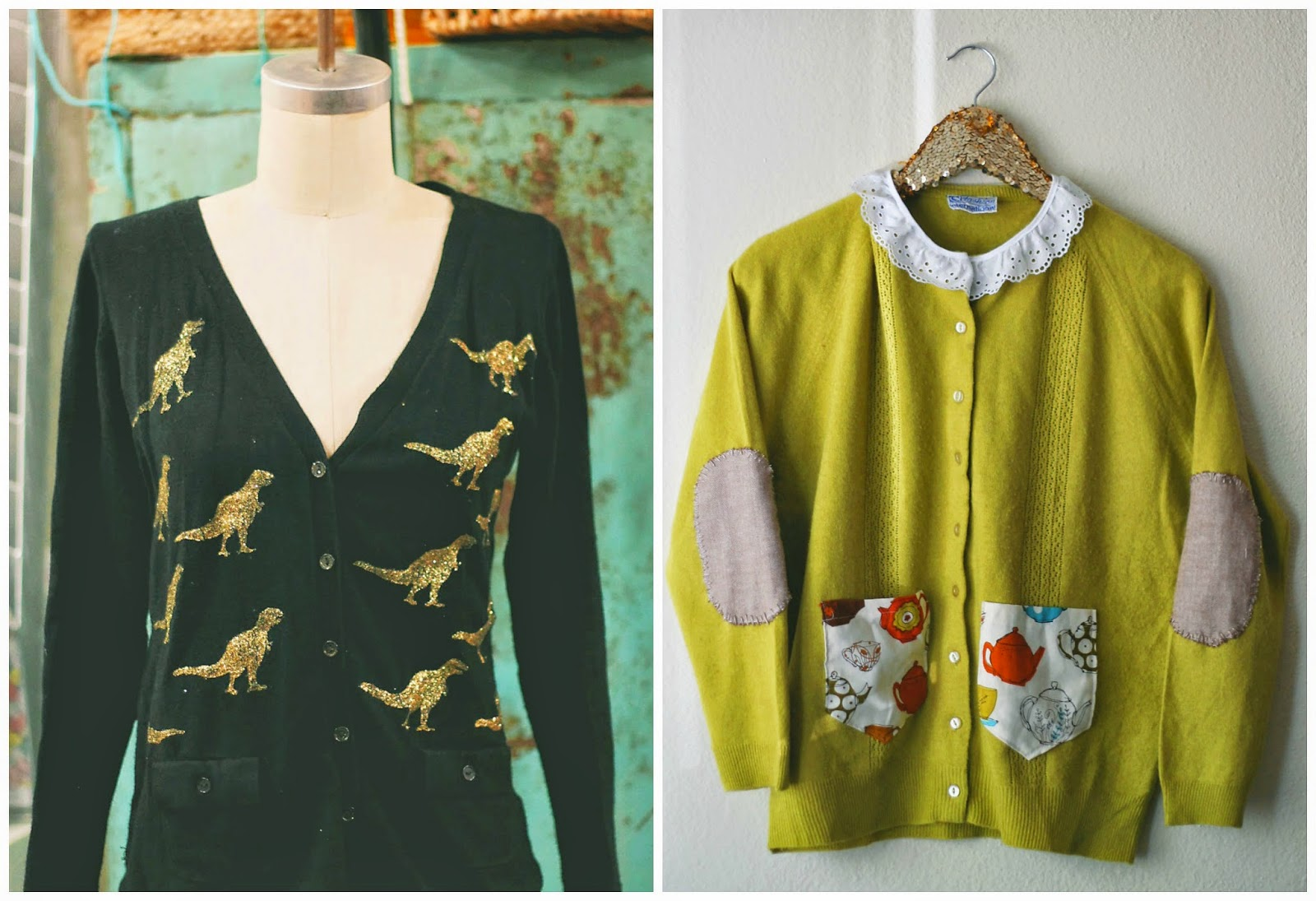 Handmade Heatherly repurposed cardigans via The Sunshine Grove