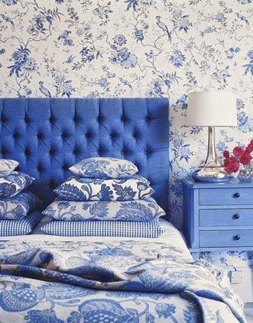 blue toile bedroom - country living