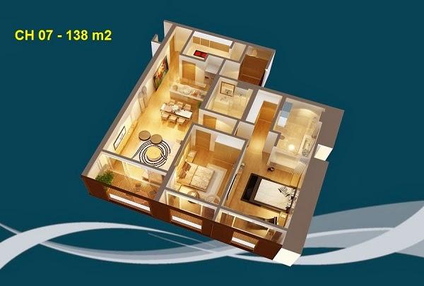 Thiết kế chi tiết căn hộ 07 - 138m2 chung cư Dolphin palza 28 trần bình