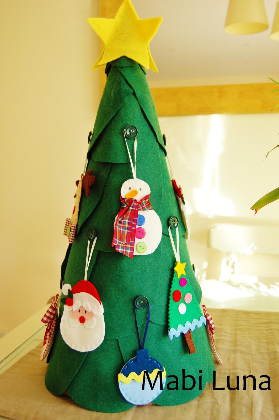Mabi luna rbol de navidad de fieltro manualidades - Manualidades faciles de navidad para ninos ...