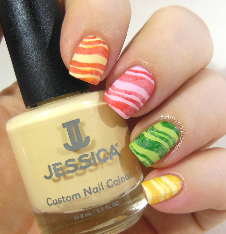 Fruit Stripe Gum nail art