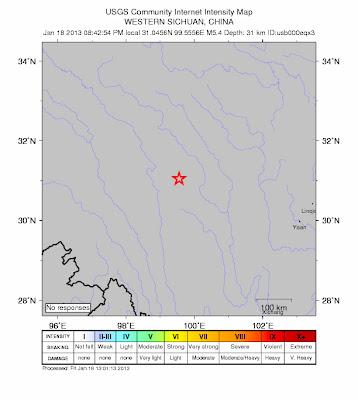 Epicentro sismo 5,4 grados en China, 18 de Enero 2013