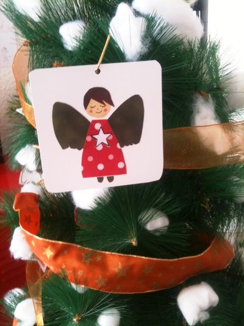 Material necesario para hacer los angelitos navideños: