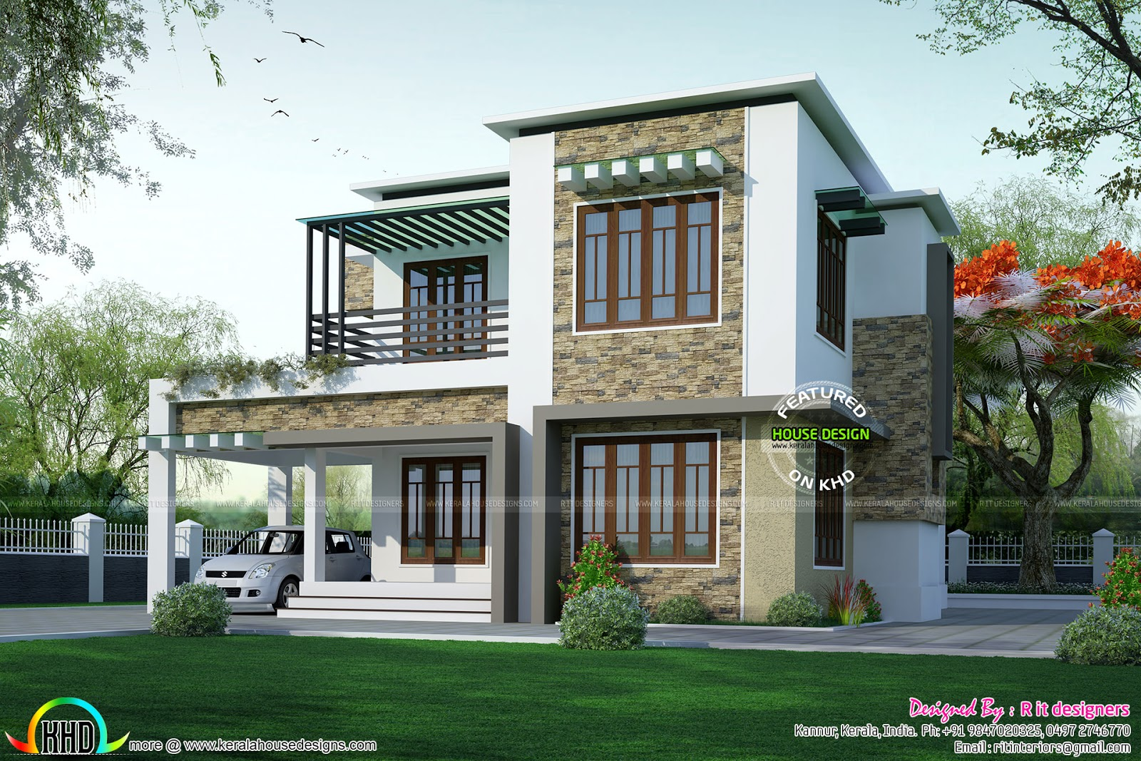 Front Elevation Balcony Design : Two different elevation with same house plan kerala home