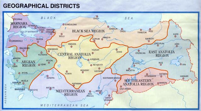 Турция регионы географическое деление