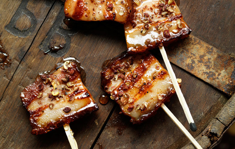 Pork Belly Lollipops Dripped with Maple Syrup