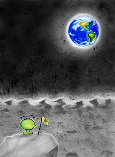 Illustration of alien watching Earthrise on the moon