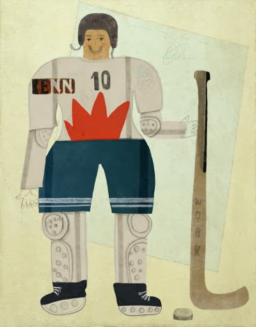 hand-drawn picture of a hockey player standing upright holding his hockey stick