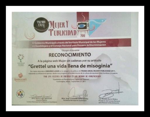 Premio a nuestro blog Mujer Sin Cadenas
