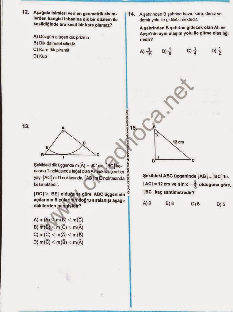 TEOG Matematik Soruları 12-13-14-15
