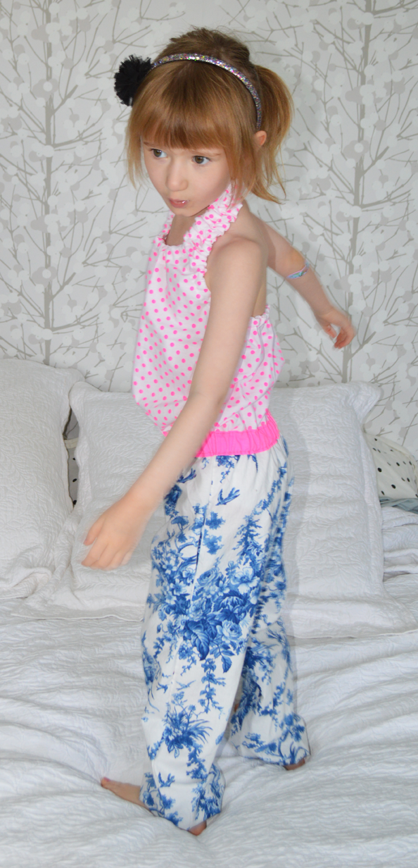 Blue toile and pink flourescent jumpsuit sewn by Cicely Ingleside