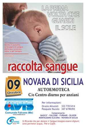 RACCOLTA SANGUE 9 OTTOBRE A  NOVARA DI SICILIA CON L'AUTOEMOTECA C/o CENTRO DIURNO PER ANZIANI