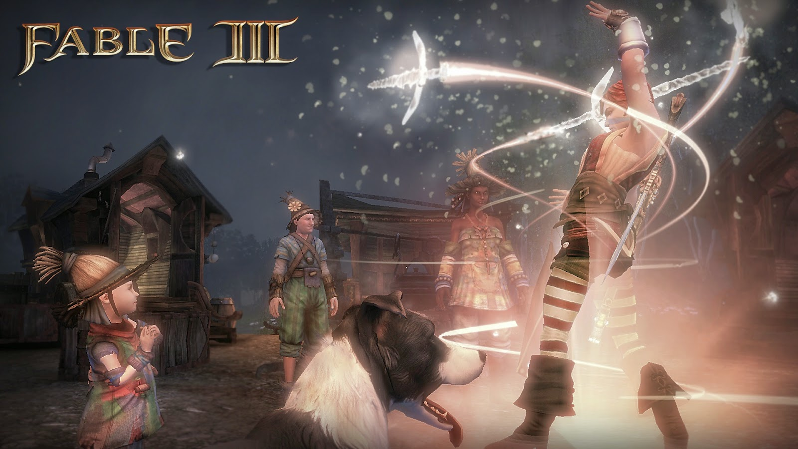 Fable 3 game review picture of player casting spells in a village
