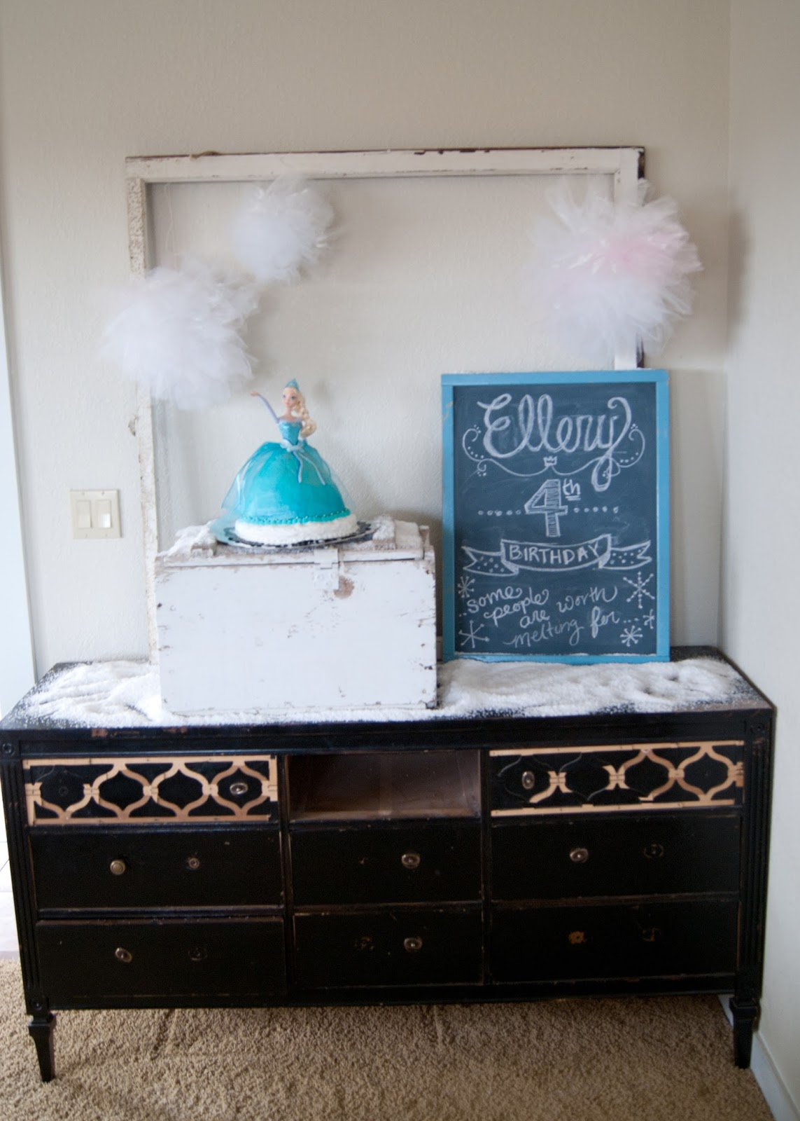 Frozen Themed birthday party - vintage decor, Elsa Cake, Chalkboard