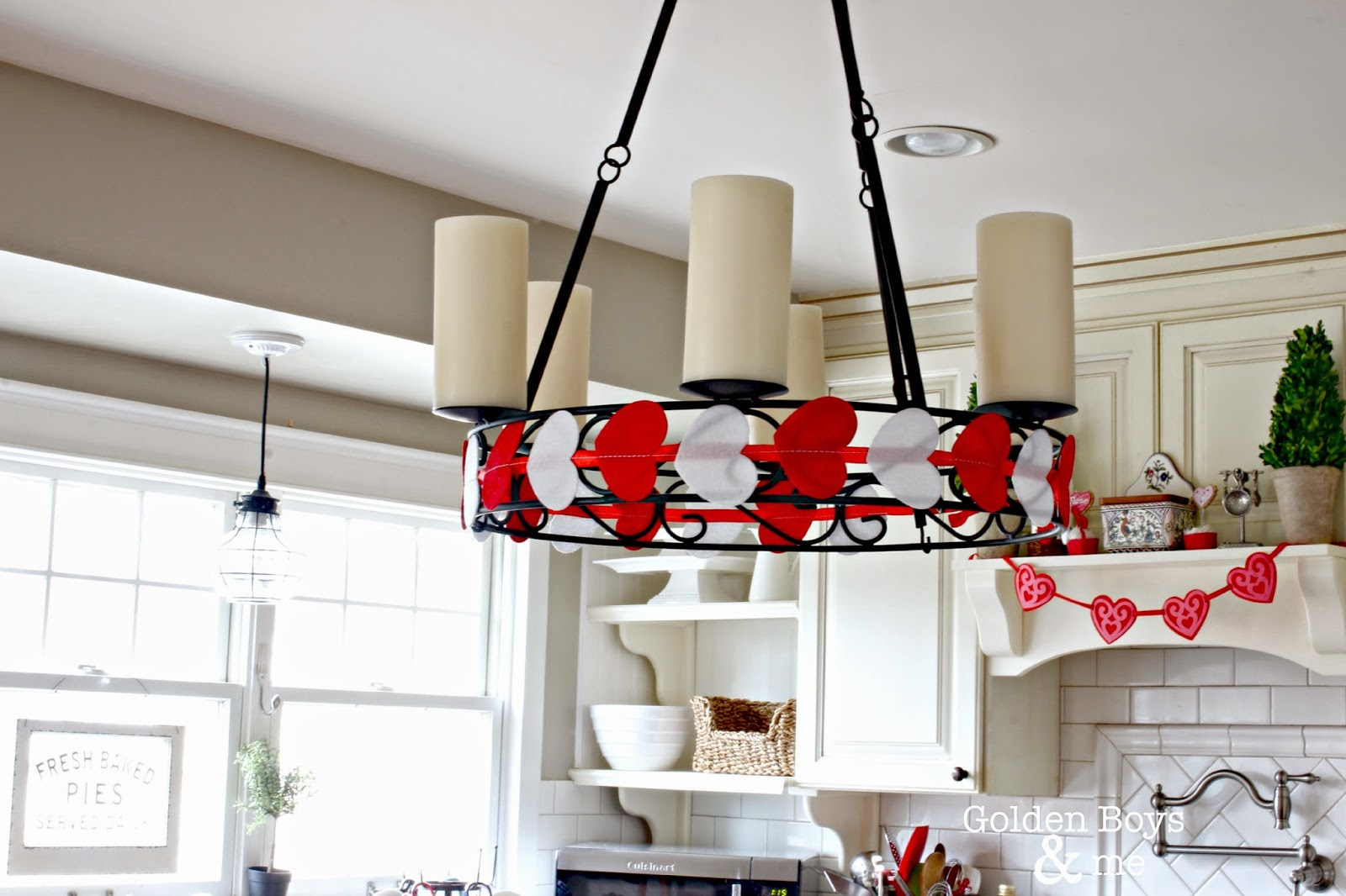 Candle Chandelier over kitchen island with Valentine Day Decor-www.goldenboysandme.com