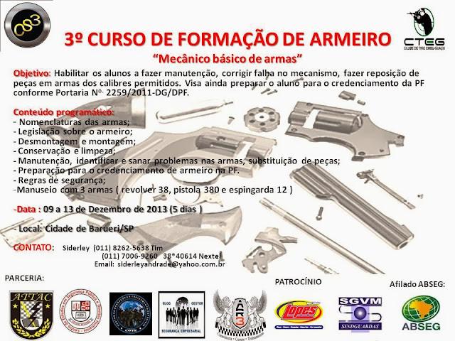"""Curso de Mecânico de Armas """" Armeiro para GCMs"""