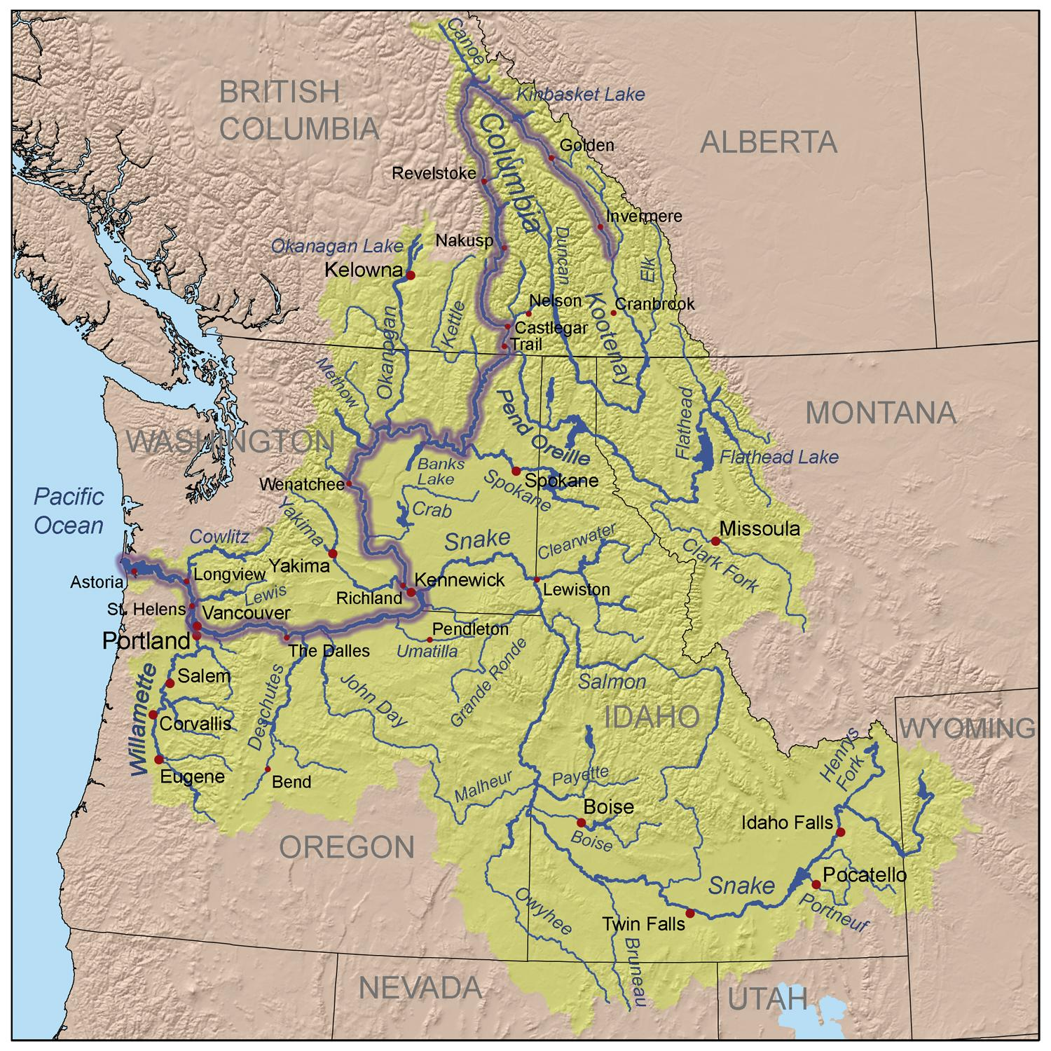 columbia river drainage map the columbia river is the fourth largest