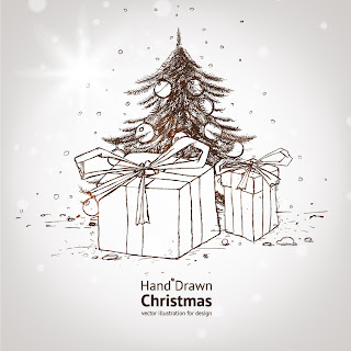 手書きのクリスマス素材 handpainted christmas element vector イラスト素材2