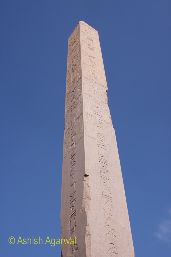 The angular profile of the Obelisk inside the Karnak temple