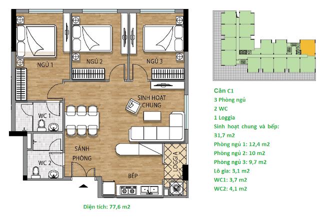 Căn hộ C1 77.6 m2 tầng 3-6 Valencia Garden